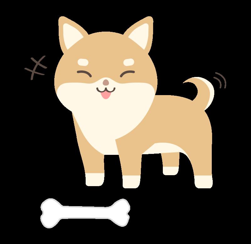 骨をもらって喜んでいる柴犬のイラスト