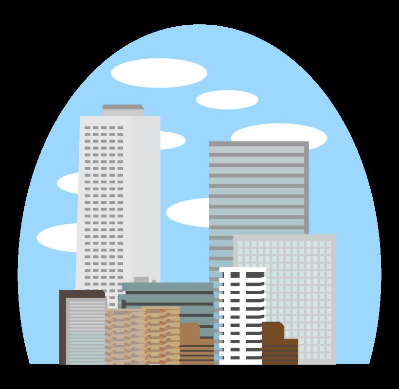 高層ビルやマンションなどのビル群のイラスト