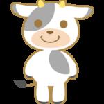立っているかわいい牛のイラスト