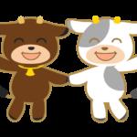 二匹のかわいい牛のイラスト