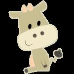 かわいい茶色い牛のイラスト