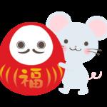 だるま(達磨)を持っているネズミのイラスト