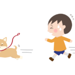 散歩中柴犬を追いかける男の子のイラスト
