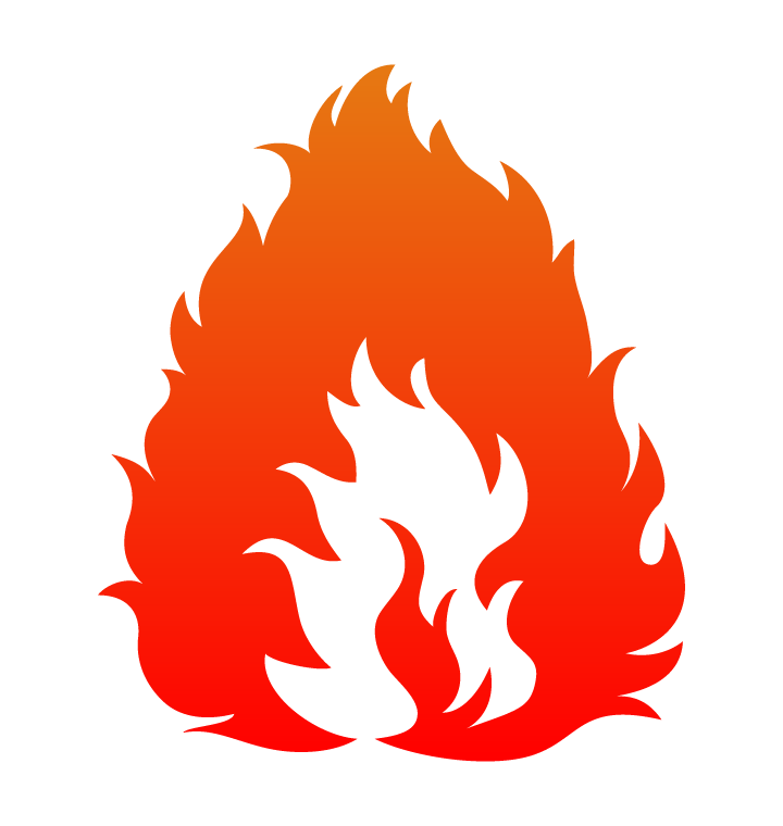 激しく燃える炎のイラスト