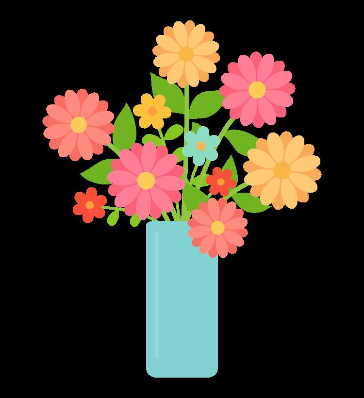 花瓶に活けた花のイラスト