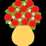 花瓶に活けたバラの花のイラスト