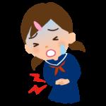 腹痛の学生のイラスト