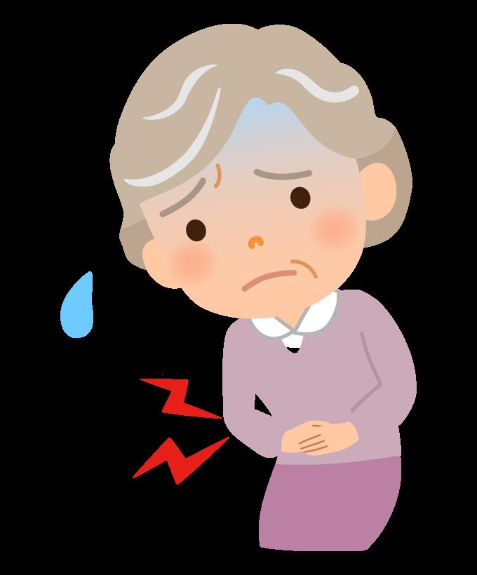 腹痛のおばあさんのイラスト