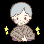 お金(お札)とおばあちゃんのイラスト