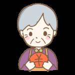お財布を持って笑顔のおばあちゃんのイラスト