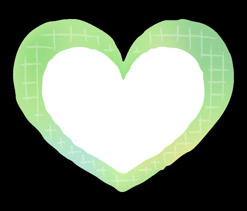 かわいい緑色のグラデーションのハートのイラスト