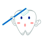 歯ブラシをする歯のキャラクターのイラスト