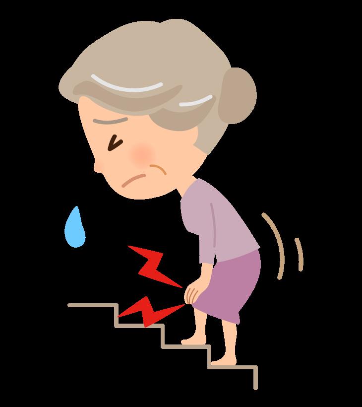 階段での膝の痛み(高齢者)のイラスト