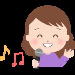 カラオケで歌っている女性のイラスト