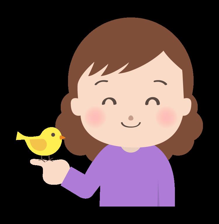 小鳥を指に乗せる女性のイラスト