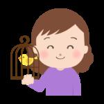 鳥かごを持っている女性のイラスト