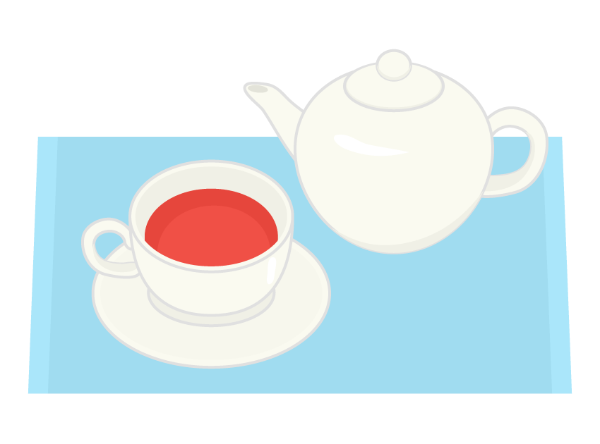紅茶とポットのイラスト