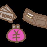 お財布とお札(お金)のイラスト