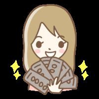 お金(お札)と女性のイラスト
