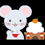 鏡餅とお餅を食べているネズミのイラスト