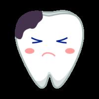 虫歯の歯のキャラクターのイラスト