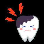 大きな虫歯の歯のキャラクターのイラスト