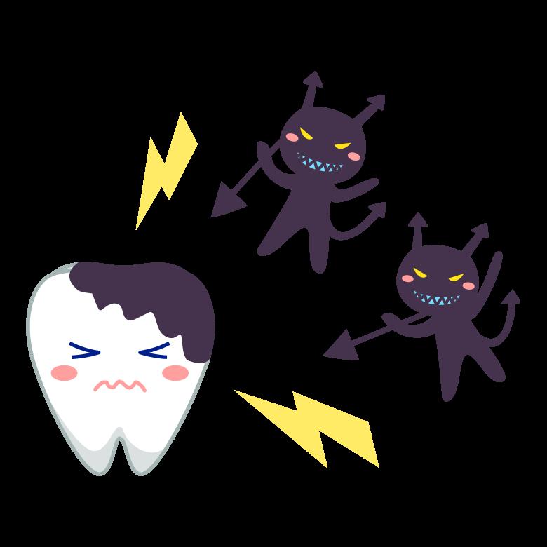 虫歯菌たちが歯を攻撃しているイラスト