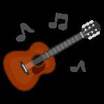 音符とクラシックギターのイラスト