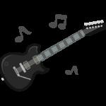 音符とエレキギターのイラスト