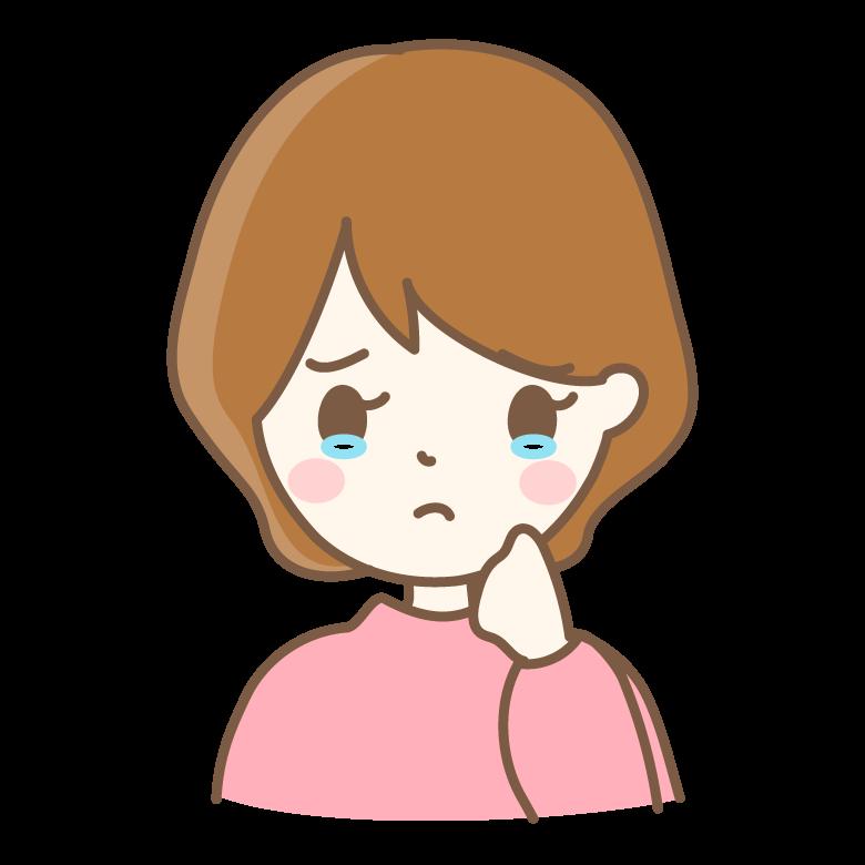 悲しい表情・泣いている女性のイラスト