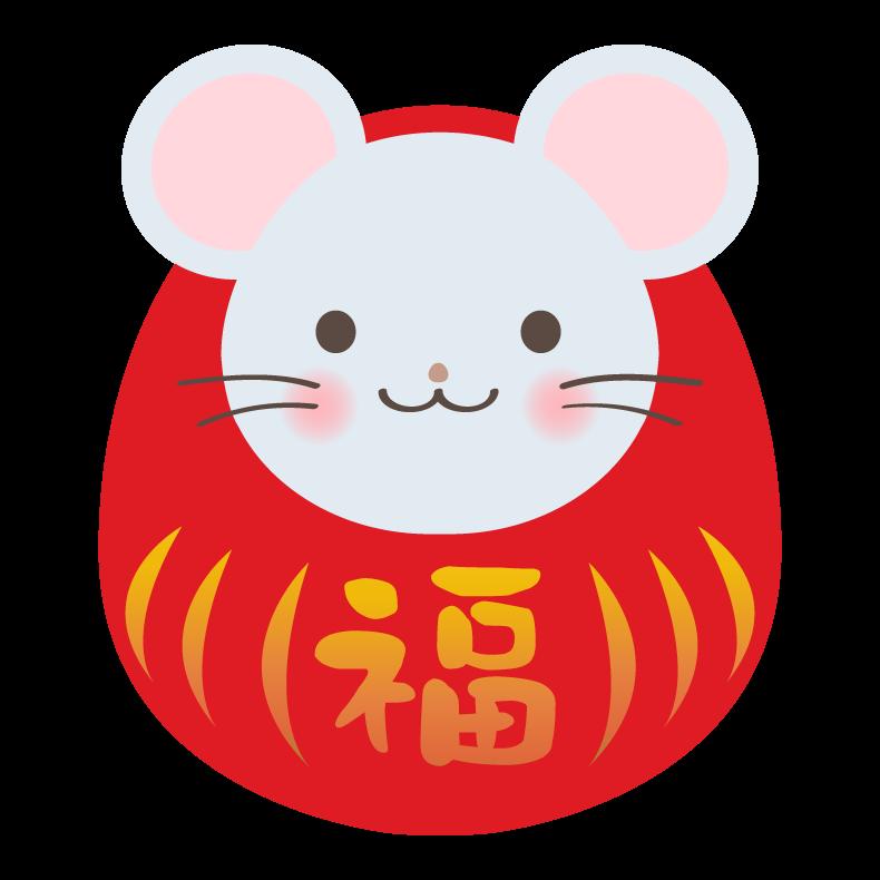 ネズミだるま(達磨)のイラスト