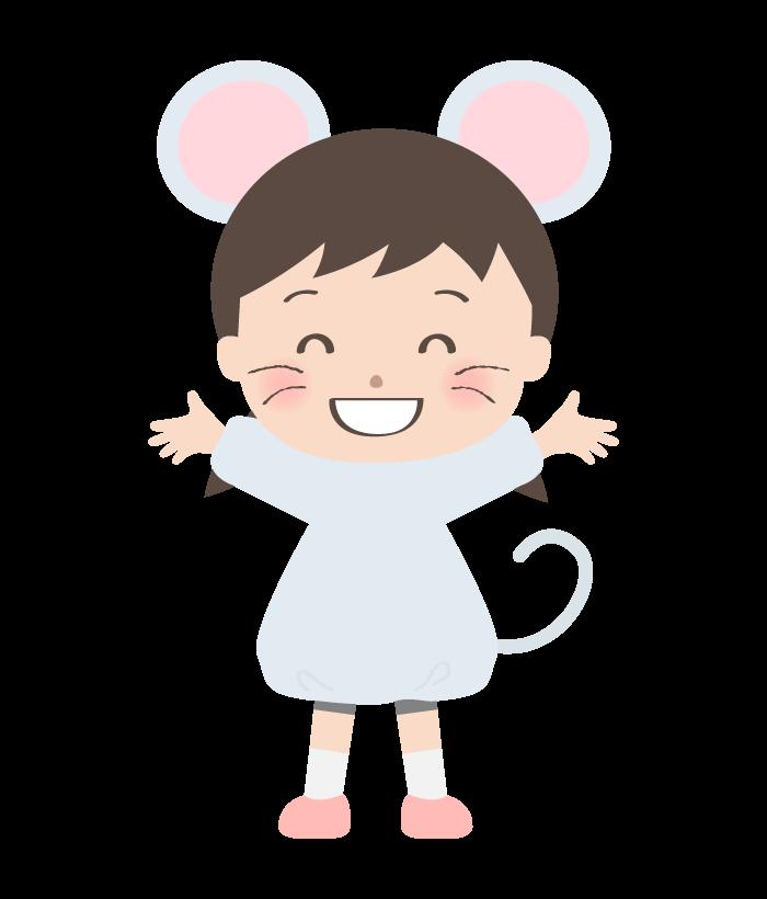 ネズミの恰好をしている女の子のイラスト