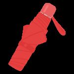 赤い折りたたみ式の傘のイラスト
