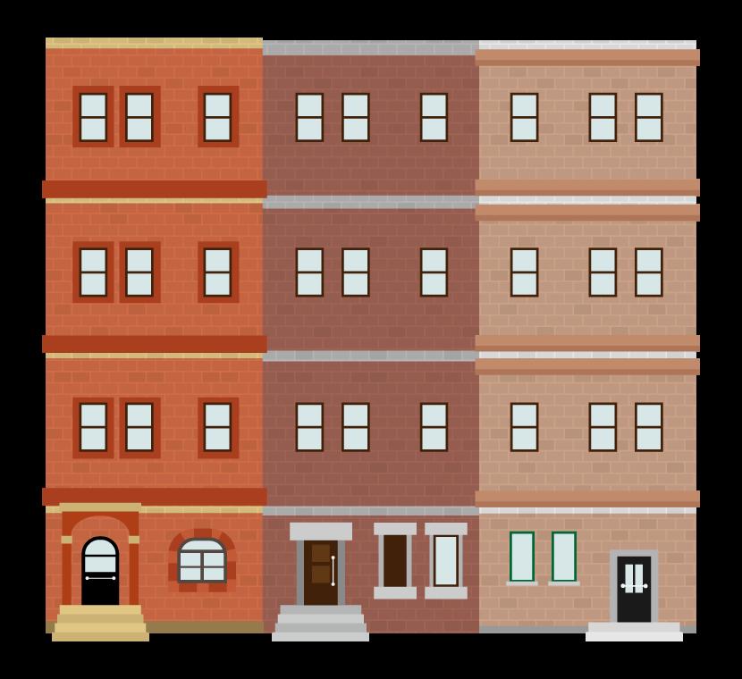レンガのレトロなアパートのイラスト