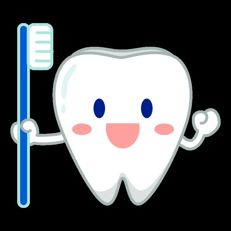 歯ブラシと笑顔の歯のキャラクターのイラスト