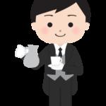 紅茶を入れるコンシェルジュ(執事)のイラスト