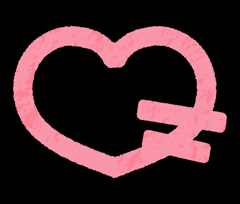 かわいい手書き風のピンク色のハートのイラスト