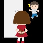 男の子にチョコを渡そうとする女の子のイラスト