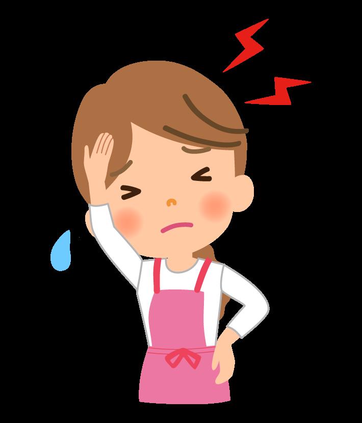 頭痛に悩む主婦のイラスト