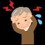 頭痛に悩むおじいさん(高齢者)のイラスト