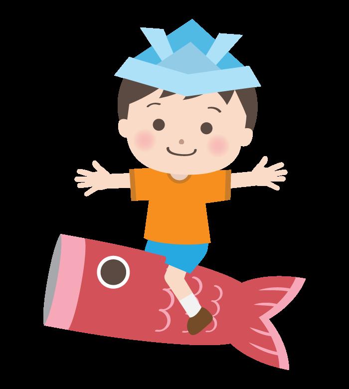 兜をかぶって鯉のぼりに座っている男の子のイラスト