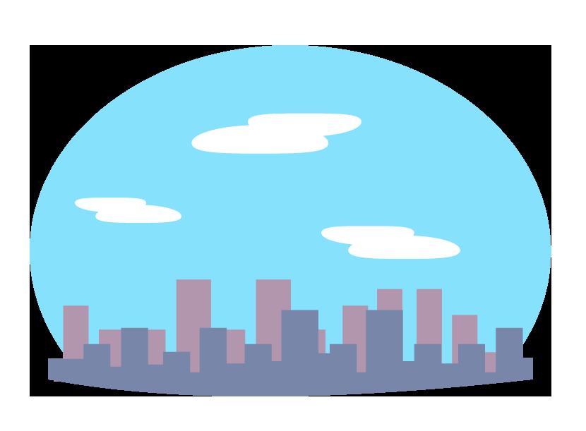 青空とビルなどの街並みのイラスト