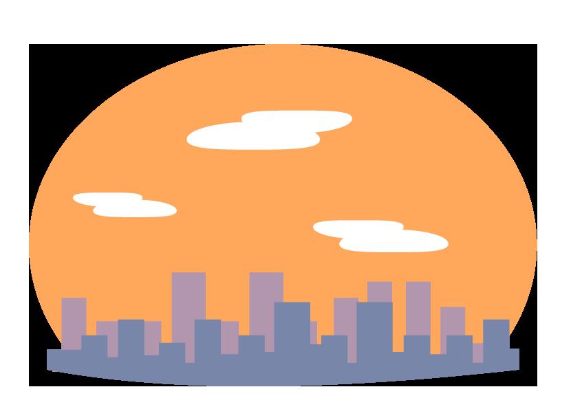 夕焼けとビルなどの街並みのイラスト