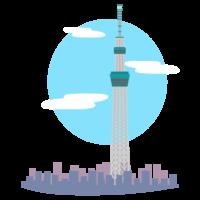 街並みと東京スカイツリーのイラスト