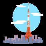 街並みと東京タワーのイラスト