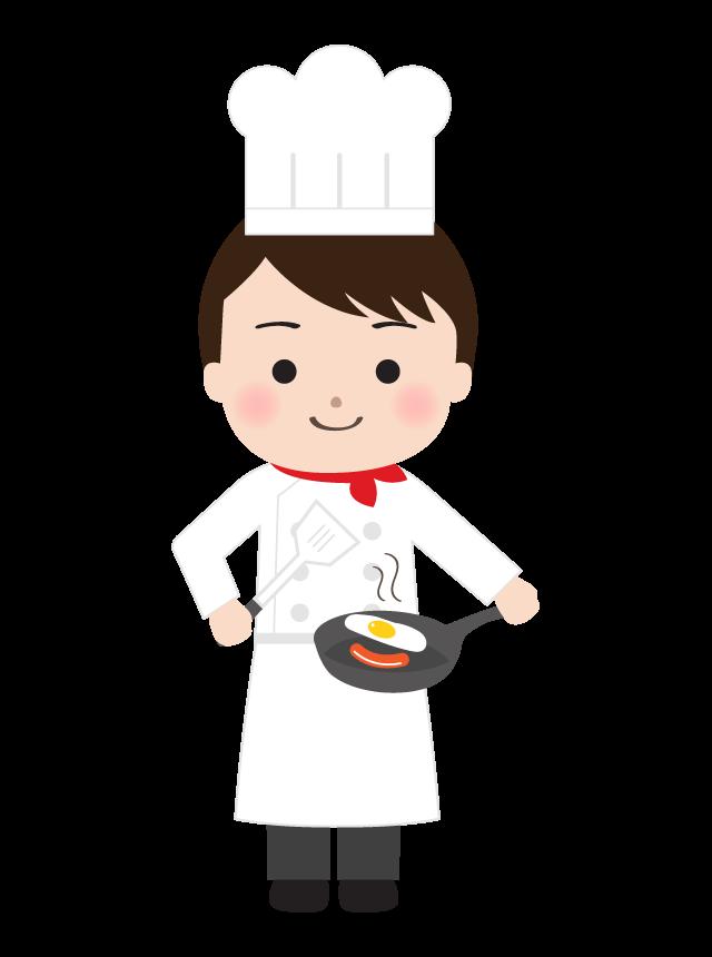 フライパンで調理をしている洋食のシェフのイラスト