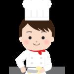 野菜を切っている洋食のシェフのイラスト
