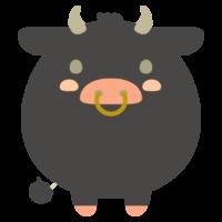 丸くてかわいい黒牛のイラスト