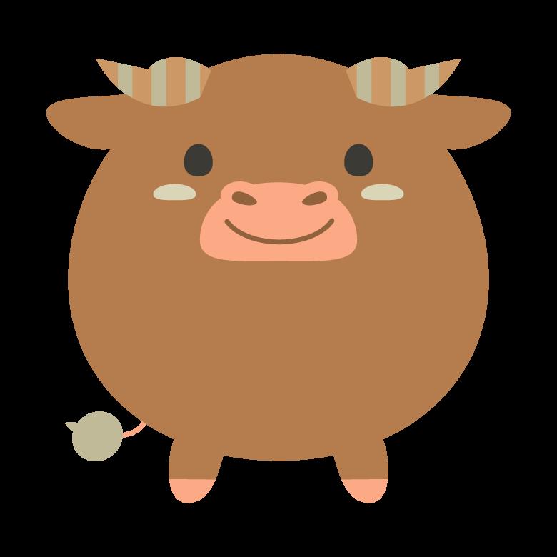 丸くてかわいい茶色い牛のイラスト