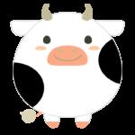 丸くてかわいい牛のイラスト